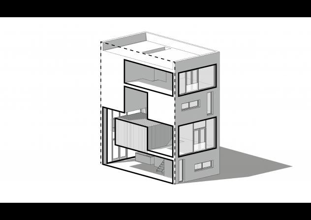 de ruimtes tussen de dozen worden leefkeuken, woonkamer en galerie die veel contact met elkaar en de omgeving hebben