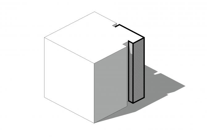 trappenhuis in noordelijke hoek, als los en sculpturaal element en in ander materiaal, ter doorbreking van de grote vlakken van 9x9m
