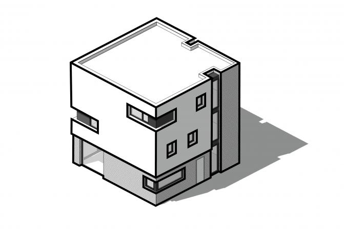 zorgvuldig vormgegeven gevelopeningen, die het sculpturale karakter van de woning benadrukken, de hoekramen verbinden de kubusvlakken overhoeks met elkaar