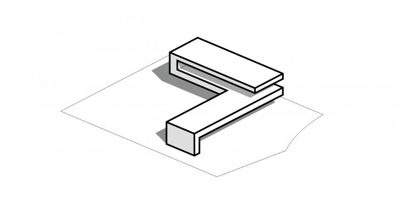 eenduidigheid in het ontwerp door het toepassen van een gevouwen volume, als geleider van de hoofdvorm