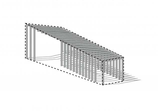 geraamte van houten spanten is semi-prefab bouwmethode om getordeerd dakvlak te maken